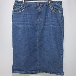 3/$15 Knee Length Jean Skirt